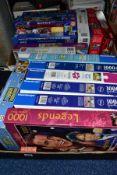 TWO BOXES OF JIG-SAWS, ETC, mainly Ravensburger 1000 puzzles , Educa Disney 1000, Waddingtons