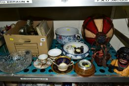 A BOX AND LOOSE SUNDRY ITEMS etc to include a cast metal Dinah money box, Coalport 'Lady Anne'