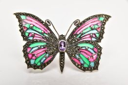 A WHITE METAL PLIQUE-A-JOUR AND MARCASITE BUTTERFLY BROOCH, with red, pink, blue and green enamelled