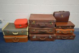 TEN VARIOUS PIECES OF LUGGAGE CASES, to include five brown leather suitcases, Gladstone bag, etc (
