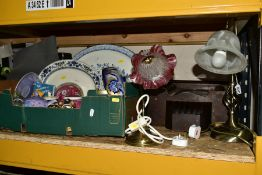 TWO BOXES AND LOOSE CERAMICS, TABLE LAMPS, CLOCK, ETC, to include teapots and novelty tea pots,