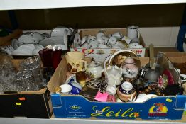 FIVE BOXES OF MISCELLANEOUS CERAMICS AND GLASS, including a silver cigarette box, (damaged)Thomas