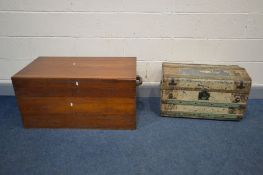 A CAMPHOR WOOD CHEST with twin handles, width 102cm x depth 51cm x height 46cm and a domed tin trunk