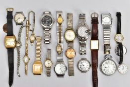 A BOX OF ASSORTED WRISTWATCHES AND POCKET WATCHES, to include nine gent's wristwatches such as a '