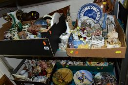FOUR BOXES AND LOOSE CERAMICS ORNAMENTS, COLLECTORS PLATES, ETC, to include Wedgwood blue