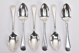 SIX SILVER TABLESPOONS, Old English pattern tablespoons, five hallmarked 'Cooper Brothers & Sons