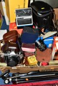 A BOX AND LOOSE BOXED CAMERAS AND EQUIPMENT, to include a Voightlander Vito B 35mm with box and