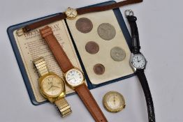 FIVE WRISTWATCHES AND A WALLET OF 'BRITAINS FIRST DECIMAL COINS', watches to include a gents gold