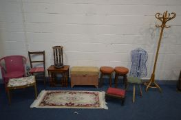A QUANTITY OF OCCASSIONAL FURNITURE to include beech hat/coat stand, two stools, wicker ottoman,