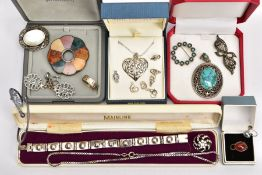 A TRAY OF ASSORTED SILVER AND WHITE METAL JEWELLERY, to include a silver and mother of pearl