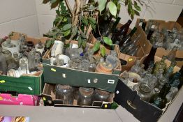 SEVEN BOXES OF GLASS BOTTLES, to include medicine and beverage etc, examples include Burrows &
