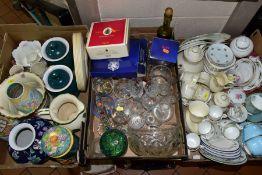THREE BOXES OF TEA WARES, GLASS AND CERAMICS, ETC, to include Royal Doulton 'Diana' part tea set,