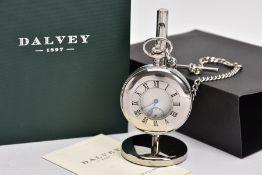 A 'DALVEY' HALF HUNTER POCKET WATCH, round silver tone dial signed 'dalvey', blue Roman numerals,