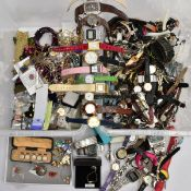 TWO BOXES OF WRISTWATCHES AND COSTUME JEWELLERY, to include a box of assorted ladies and gents dress