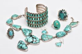 A SELECTION OF WHITE METAL NAVAJO JEWELLERY, to include a white metal necklace fitted with ten links