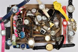 A BOX OF ASSORTED LADIES AND GENTS DRESS WRISTWATCHES, mostly quartz movements, to include names
