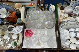 FIVE BOXES AND LOOSE CERAMICS, GLASS, ETC, to include Royal Doulton 'Atlanta' H5237 (thirty one