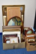 THREE BOXES AND LOOSE PRINTS AND PAINTINGS, including modern oils on canvas, two small maltese