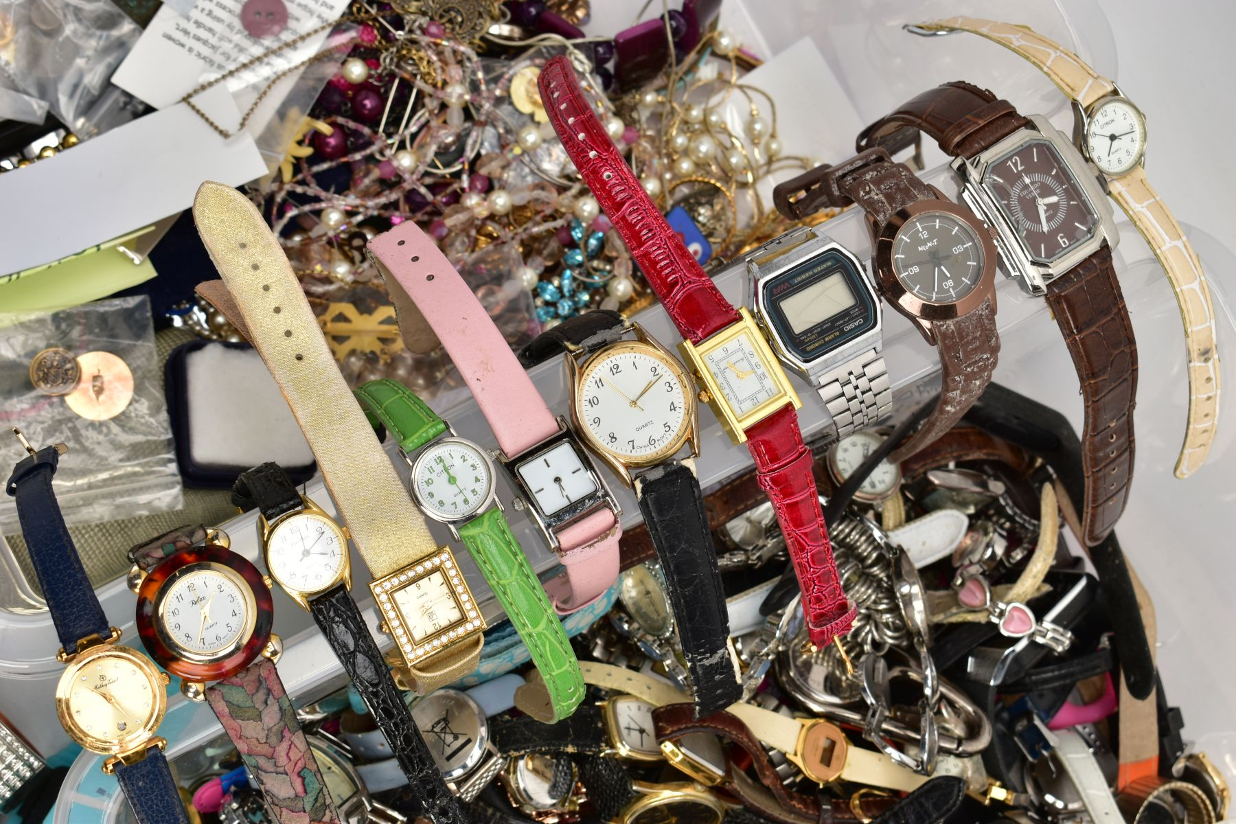 TWO BOXES OF WRISTWATCHES AND COSTUME JEWELLERY, to include a box of assorted ladies and gents dress - Image 2 of 6