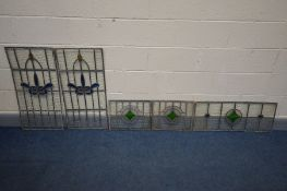 FIVE LEAD AND STAINED GLASS WINDOWS, to include two pairs, 83cm x 41cm (some cracks, see images) and