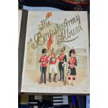 A LATE 19TH CENTURY 'THE BRITISH ARMY ALBUM' MUSICAL PHOTOGRAPH ALBUM, with coloured lithograph