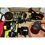 SEVEN VINTAGE FISHING REELS, comprising a Garcia Mitchell 300 with spare spool, Daiwa 28 closed face