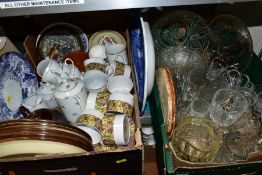 TWO BOXES OF CERAMICS AND GLASS etc to include Doulton Cinnabar coffee cups and saucers, other