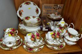 ROYAL ALBERT 'OLD COUNTRY ROSES' comprising two tier cake stand (with a box), a cake/sandwich plate,