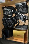 A BOX OF CAMERAS AND CASES, to include a Nikon F-601 35mm SLR film camera fitted with a sigma 35-