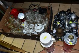 A BOX AND LOOSE TEAWARES AND GLASSWARES etc, to include a German 'Bareuther' six person coffee
