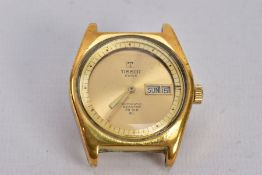 A GENTS TISSOT SWISS AUTOMATIC WRISTWATCH, a.f round gold dial signed 'Tissot Swiss, Automatic