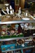FOUR BOXES AND LOOSE SUNDRY ITEMS, ETC, to include ceramic and gilt metal ceiling and wall lights,