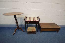 A VICTORIAN MAHOGANY OVAL TRIPOD TABLE, a low mahogany storage box/foot stool, Edwardian piano stool