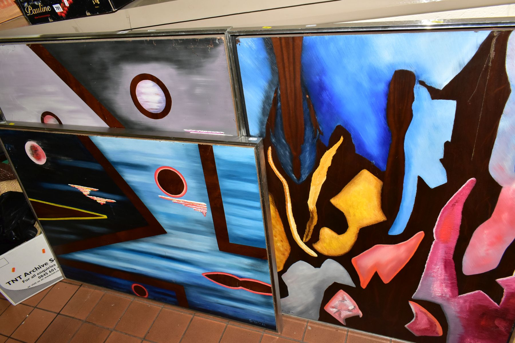 THREE ABSTRACT EXPRESSIONIST OILS ON BOARD, signed Sigi and dated 1980, 1981 and 1982, largest