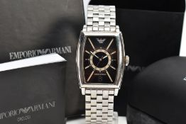 A GENTS EMPORIO ARMANI WRISTWATCH, rounded rectangular black dial, Emporio Armani emblem at the