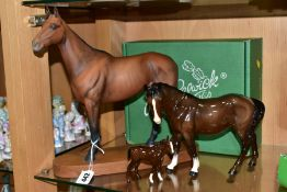 THREE BESWICK HORSES, comprising connoisseur horse 'Arkle' No.2065, on wooden plinth (missing