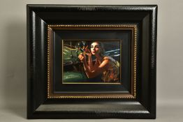 FABIAN PEREZ (ARGENTINA 1967) 'STUDY FOR GLAMOUR II', a female figure applies lipstick in a car wing