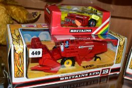 A BOXED BRITAINS MASSEY FERGUSON 760 COMBINE HARVESTER, No. 9570, with a boxed Britains seed