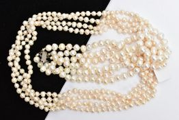 TWO CULTURED FRESH WATER PEARL NECKLACES, to include a three-strand necklace fitted with a white