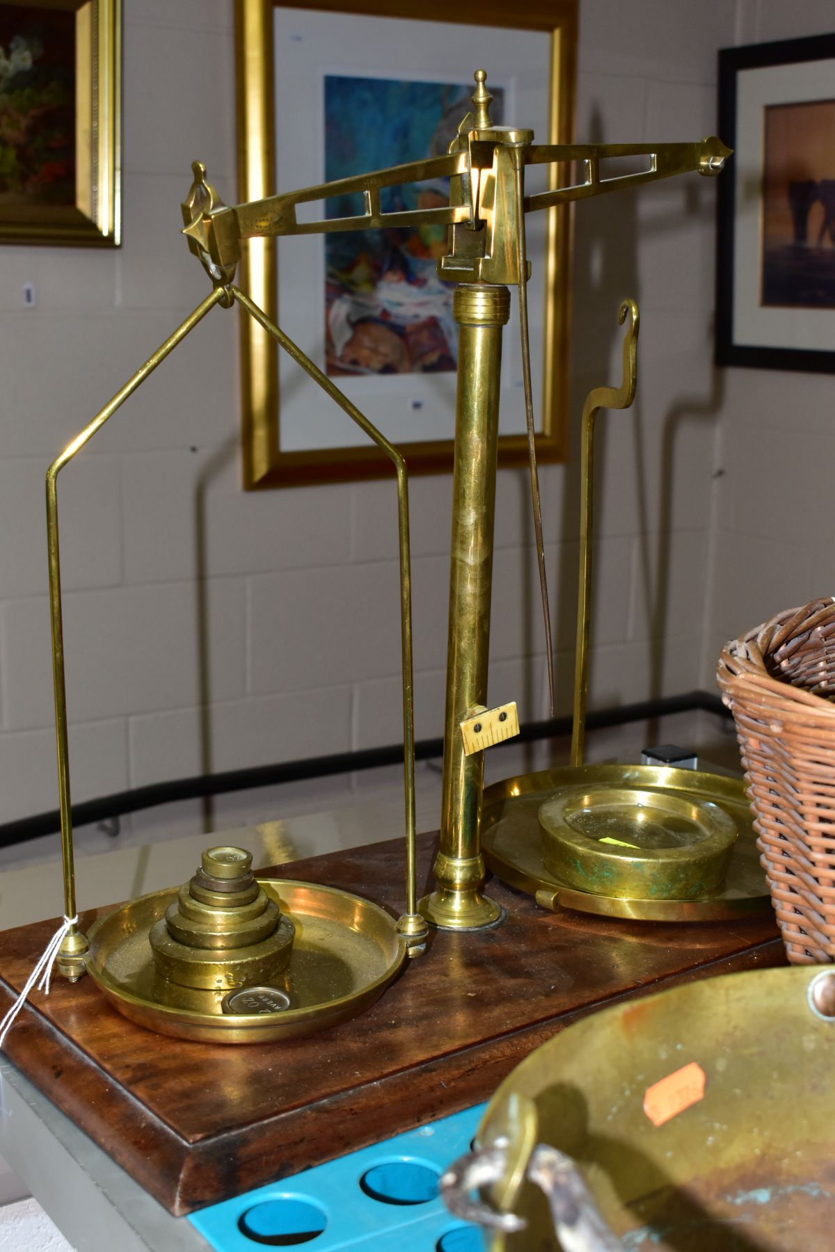 A GROUP OF COPPER, BRASS, WICKER BASKETS, ETC, including a set of balance scales on a mahogany - Image 4 of 11