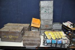 TWO METAL AND ONE WOODEN AMMO BOXES along with nine metal workshop trays and various plastic