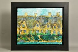 KATHARINE DOVE (BRITISH CONTEMPORARY) 'BROOKSIDE COTTAGES', a row of terraced cottages, signed