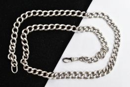 A HEAVY SILVER CHAIN, graduated curb link design, fitted with a lobster hook clasp, each link