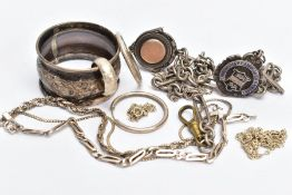 A SILVER ALBERT CHAIN WITH FOBS, A SILVER NAPKIN RING AND WHITE METAL JEWELLERY, fetter Albert chain