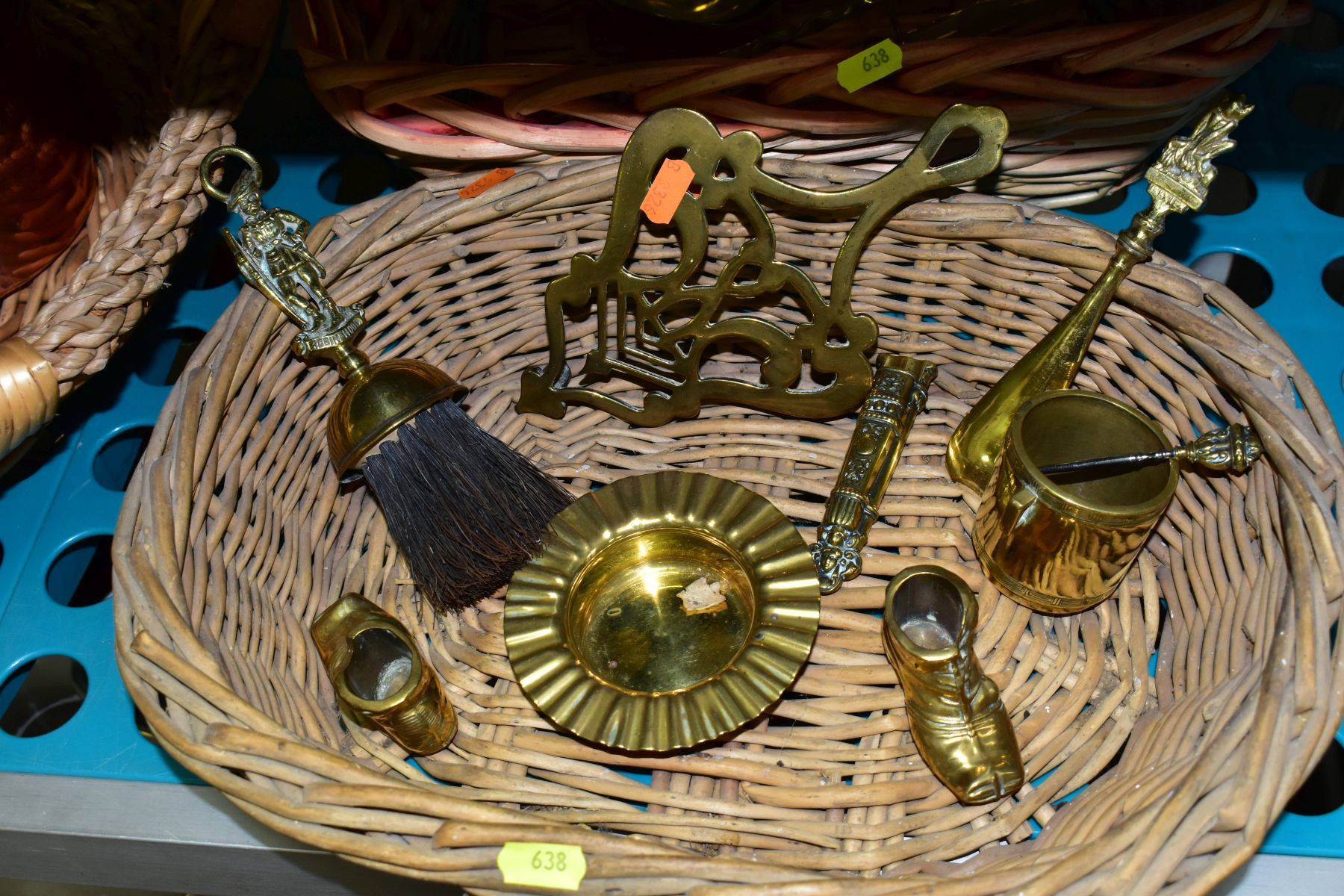 A GROUP OF COPPER, BRASS, WICKER BASKETS, ETC, including a set of balance scales on a mahogany - Image 9 of 11
