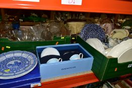 FIVE BOXES AND LOOSE CERAMICS AND GLASS ETC, to include boxed Wedgwood Viva cups and saucers,