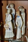 SIX SPANISH PORCELAIN FIGURES INCLUDING TWO NAO FIGURES OF CHILDREN IN NIGHTDRESSES, one holding a