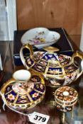 A SMALL GROUP OF ROYAL CROWN DERBY, comprising three Imari pattern items, all with restoration or