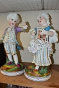 A PAIR OF LATE 19TH CENTURY CONTINENTAL BISQUE PORCELAIN FIGURES OF A BOY AND GIRL IN 18TH CENTURY