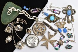 A SELECTION OF WHITE METAL JEWELLERY AND A POCKET WATCH, to include a pair of white metal ball